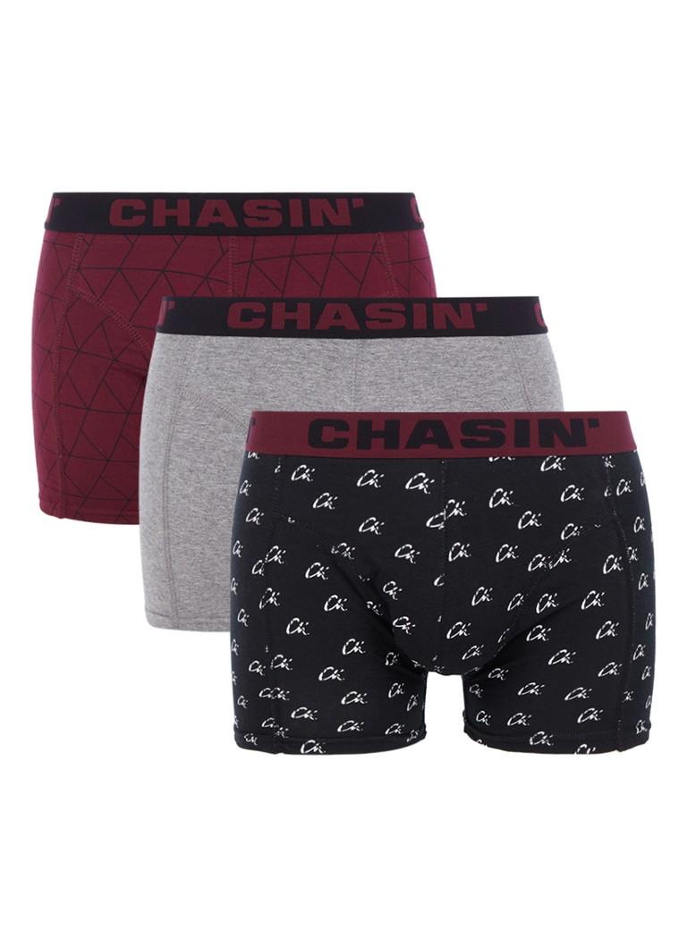 Chasin' Thrice boxershorts in uni en dessin in 3-pack