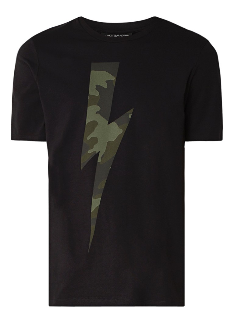 Neil Barrett Camo Bolt T-shirt met bliksemprint