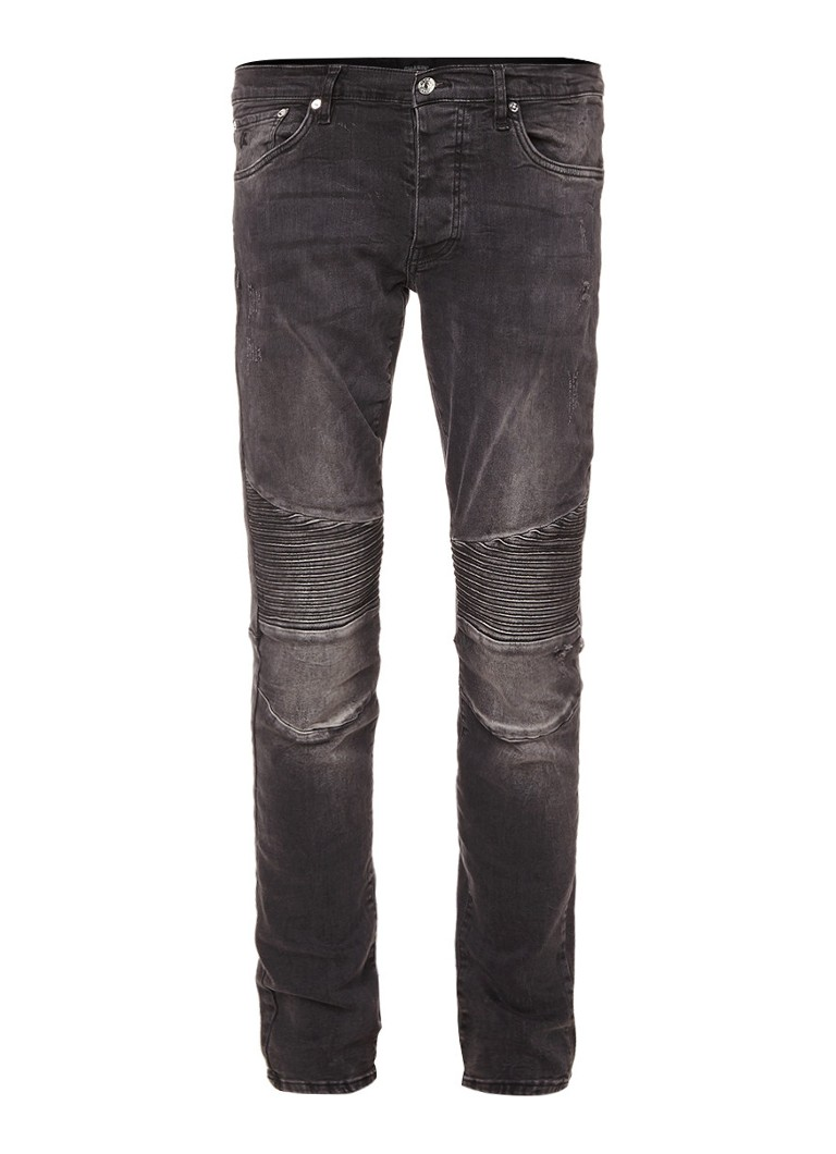Chasin Drake Shank low rise slim fit jeans met moto look