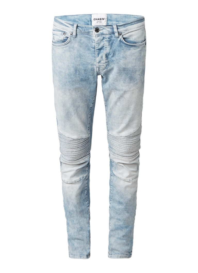 Chasin Drake Shizz low rise slim fit jeans met moto look