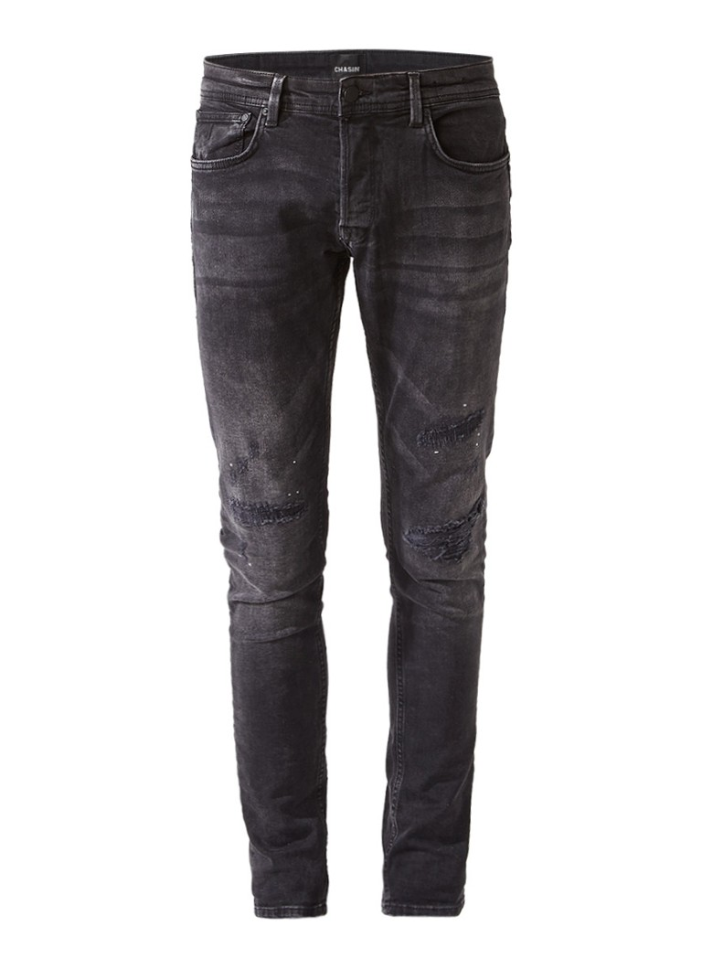 Chasin EGO Slim Julian fit jeans met repaired look