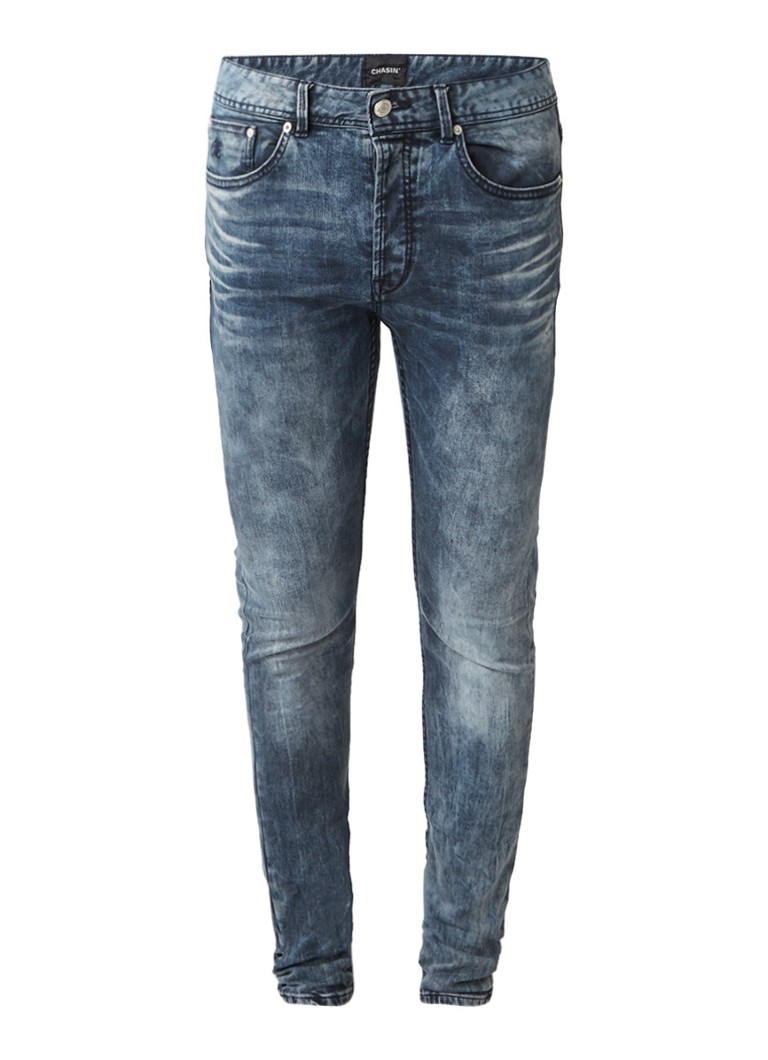Image of CHASIN' EGO Slim Phill mid rise slim fit jeans met faded look