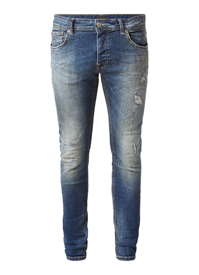 Chasin EGO Slim Blaidd mid rise slim fit jeans met destroyed details