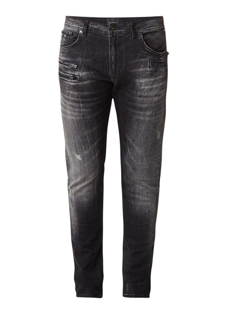 Chasin Guador Slim Spoke slim fit jeans met bikerlook