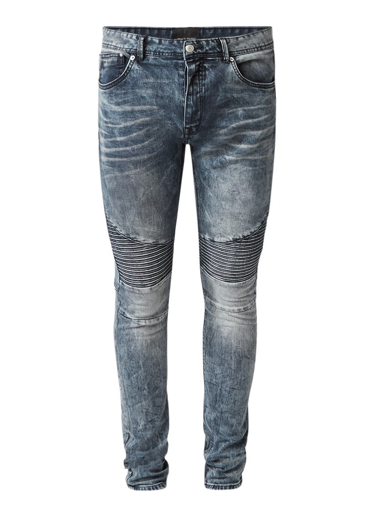 Chasin Drake Phill low rise slim fit jeans met bikerlook
