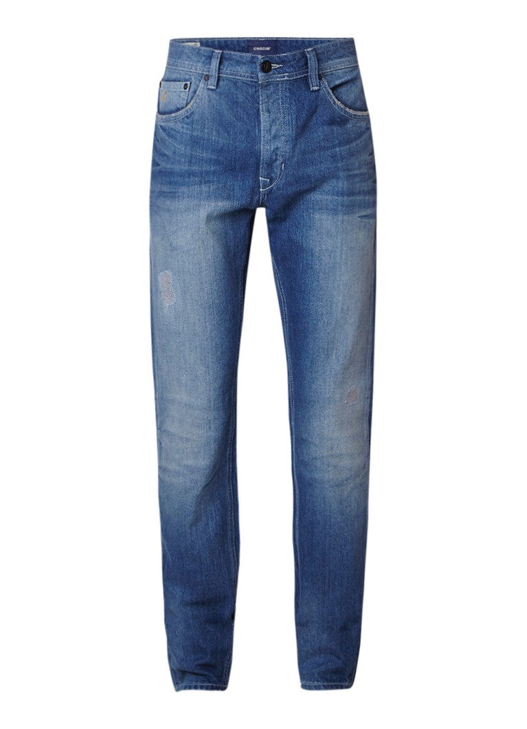 Chasin' EGO Kent mid rise slim fit jeans met repaired details