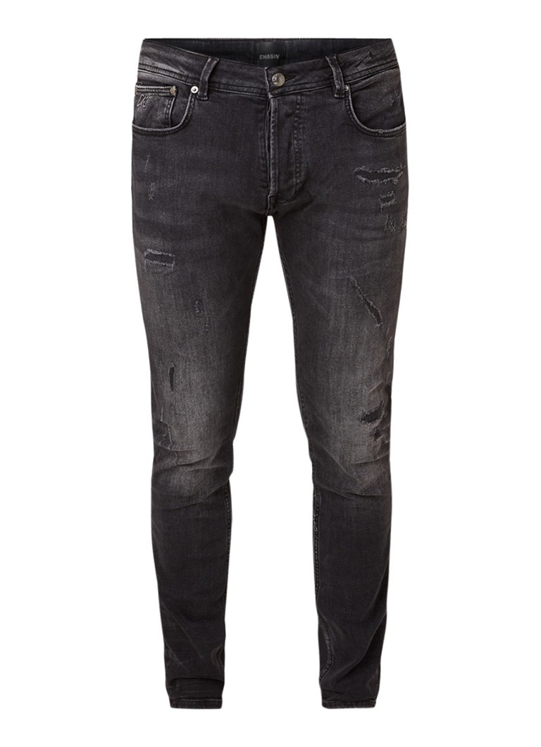 Image of CHASIN' Ego slim fit jeans met ripped details