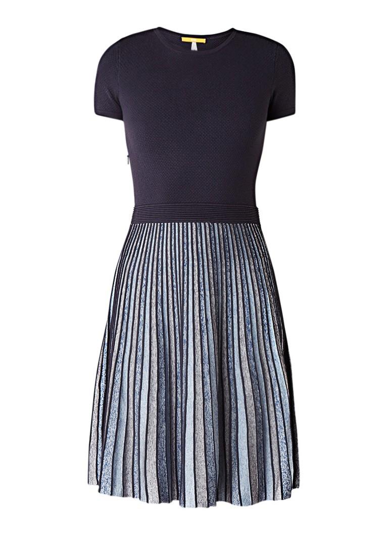Hugo Boss Wynola A-lijn jurk met ingeweven streepdessin donkerblauw