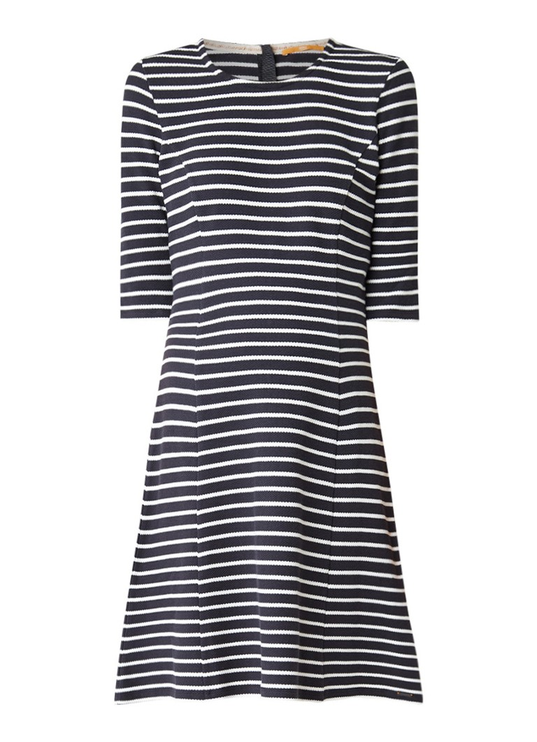 Hugo Boss Dressie midi-jurk van katoen met streepdessin donkerblauw