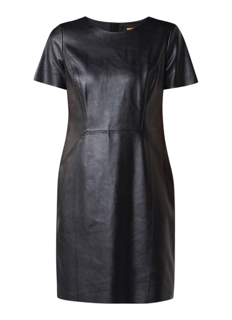 Hugo Boss Aledy jurk van imitatieleer zwart