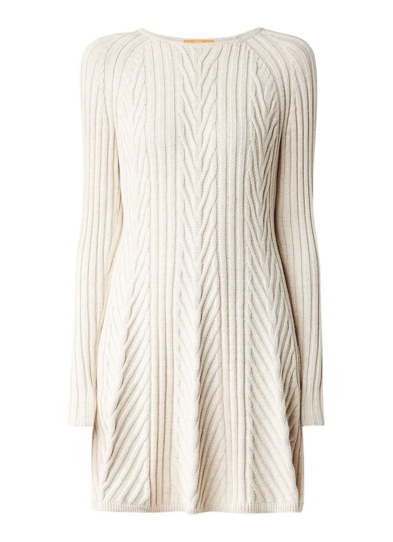 Hugo Boss Willabelle kabelgebreide mini-jurk gebroken wit