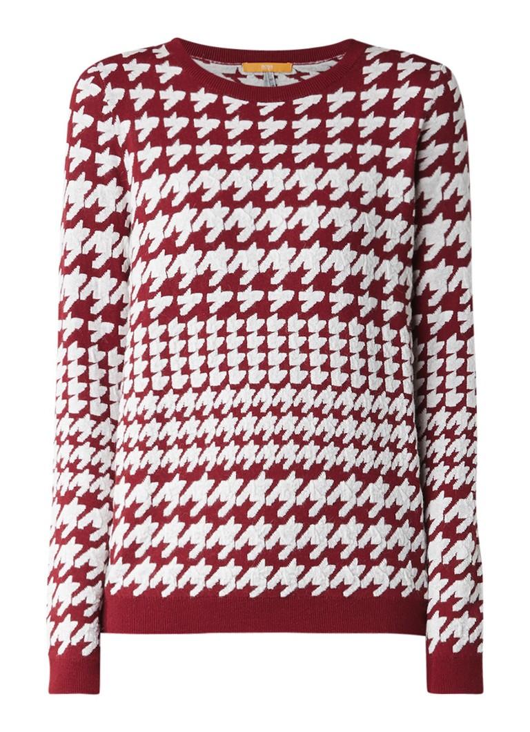 HUGO BOSS Lonna pullover van wol met pied-de-poule-dessin