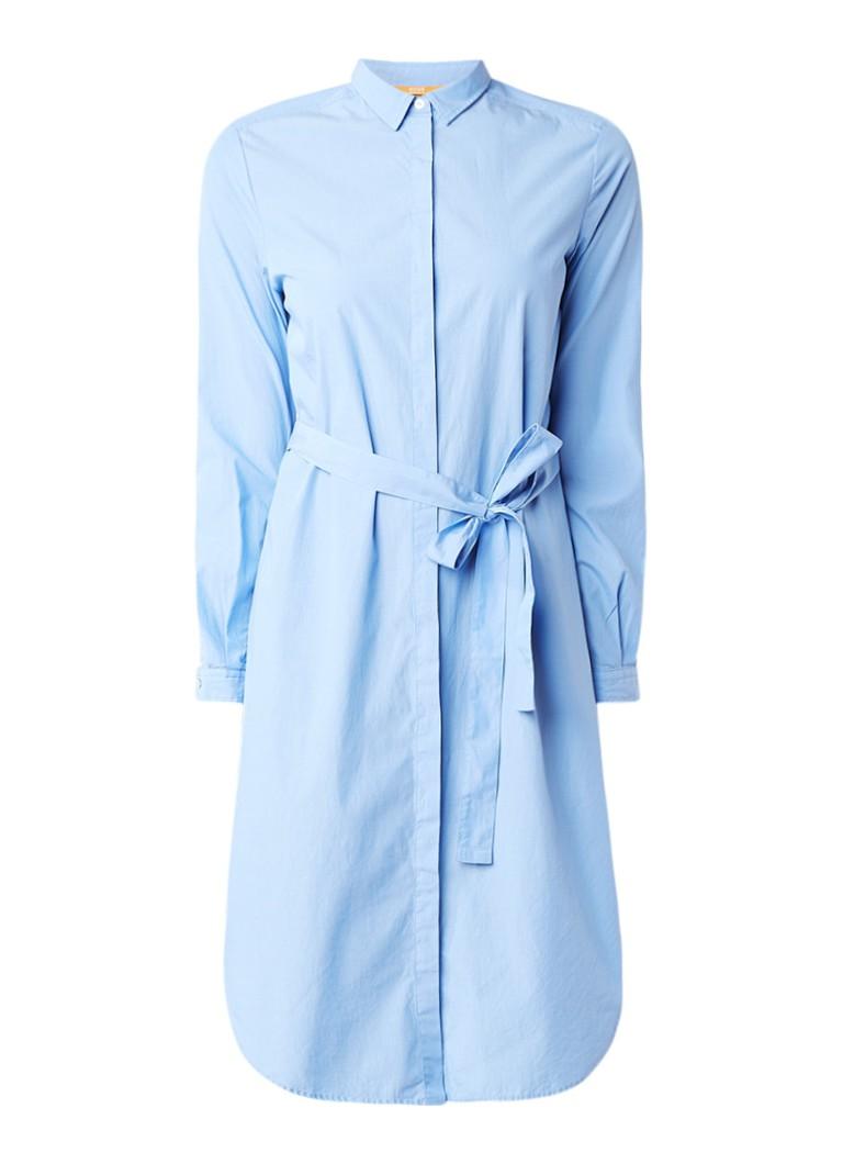 Hugo Boss Celestea blousejurk met lange mouw lichtblauw