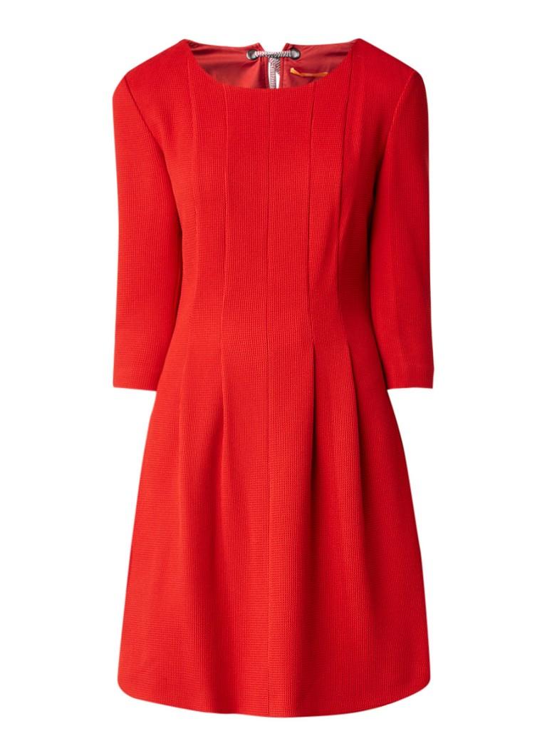 Hugo Boss Aloky A-lijn jurk met structuur en deelnaden rood