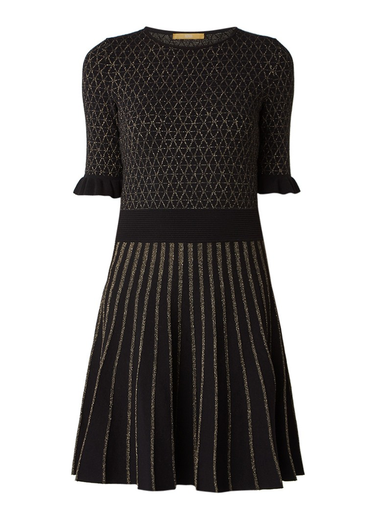 Hugo Boss Illora gebreide A-lijn jurk met lurex zwart
