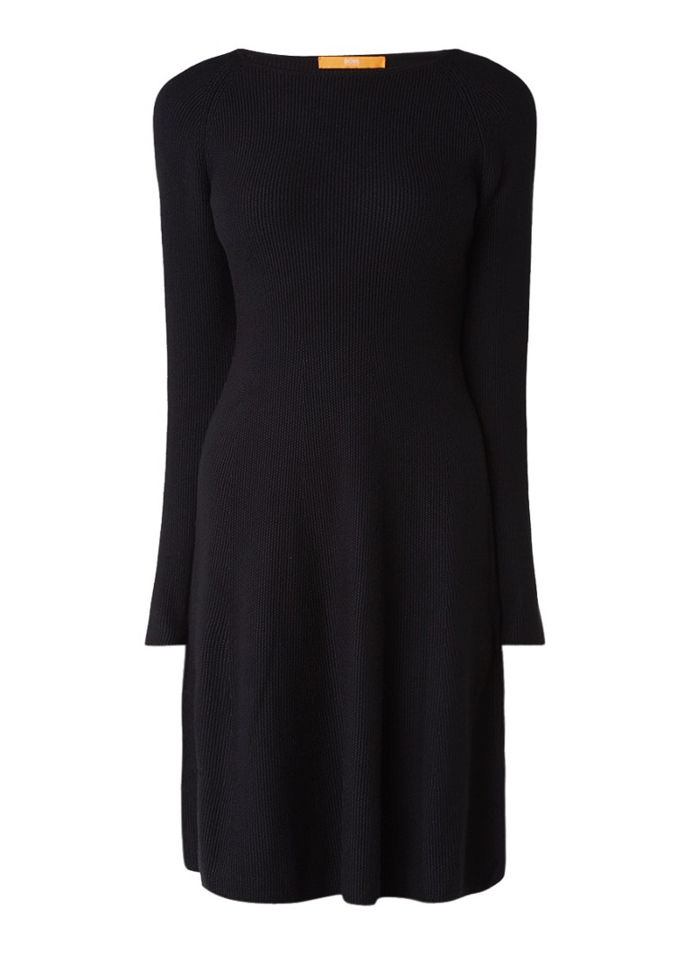 Hugo Boss Iesibella gebreide A-lijn jurk in kasjmierblend zwart