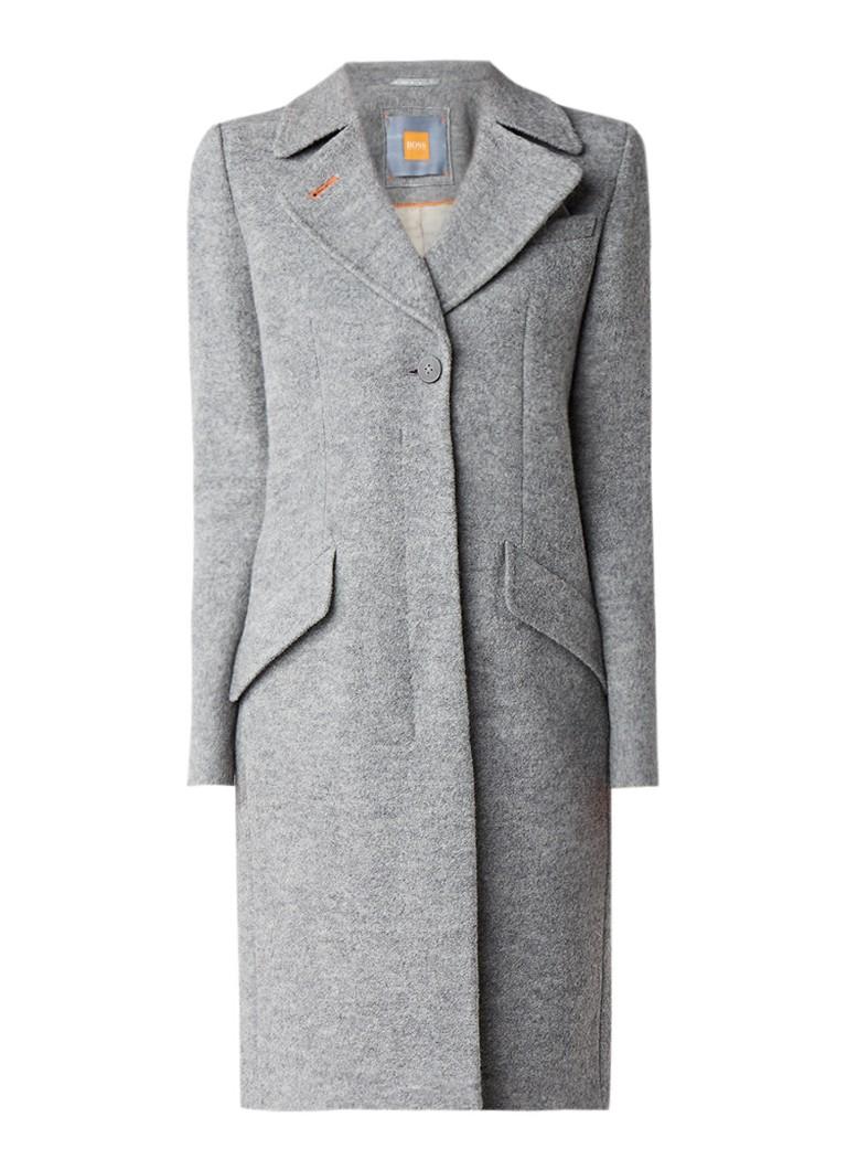 HUGO BOSS Onati gemêleerde mantel in wolblend met klepzakken