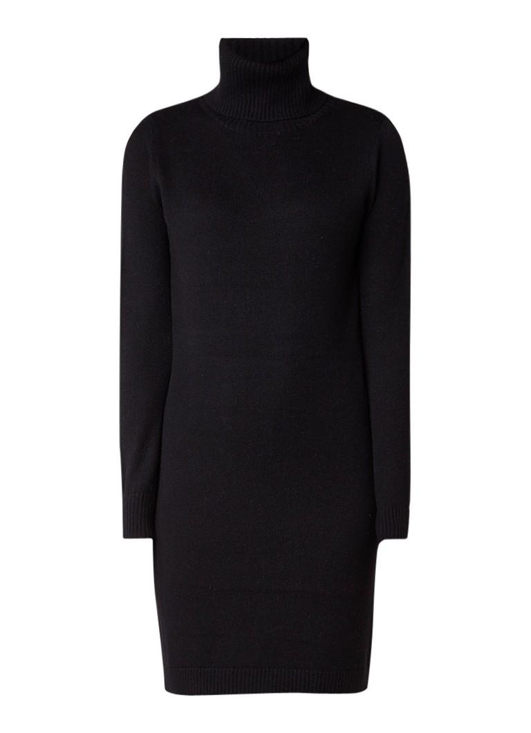 Hugo Boss Wijjune midi-jurk in wolblend met col zwart