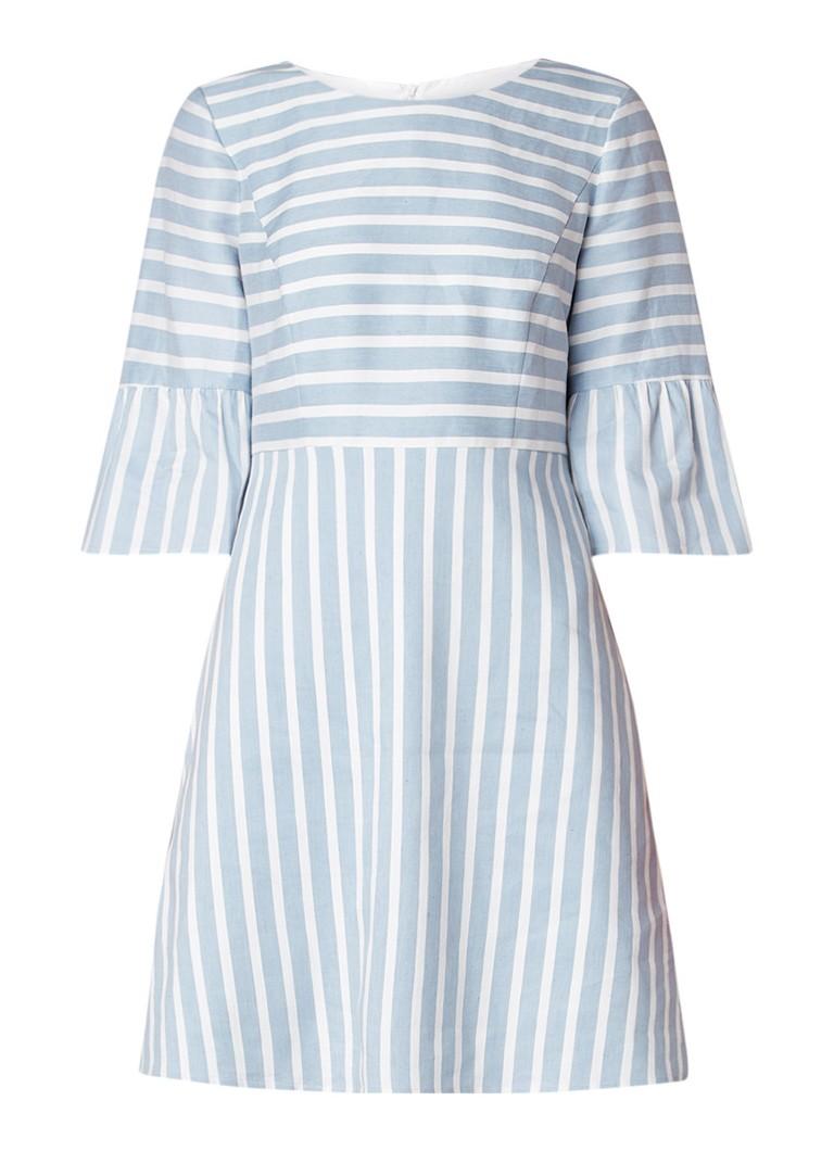 Hugo Boss Alinny jurk in linnenblend met streepdessin lichtblauw