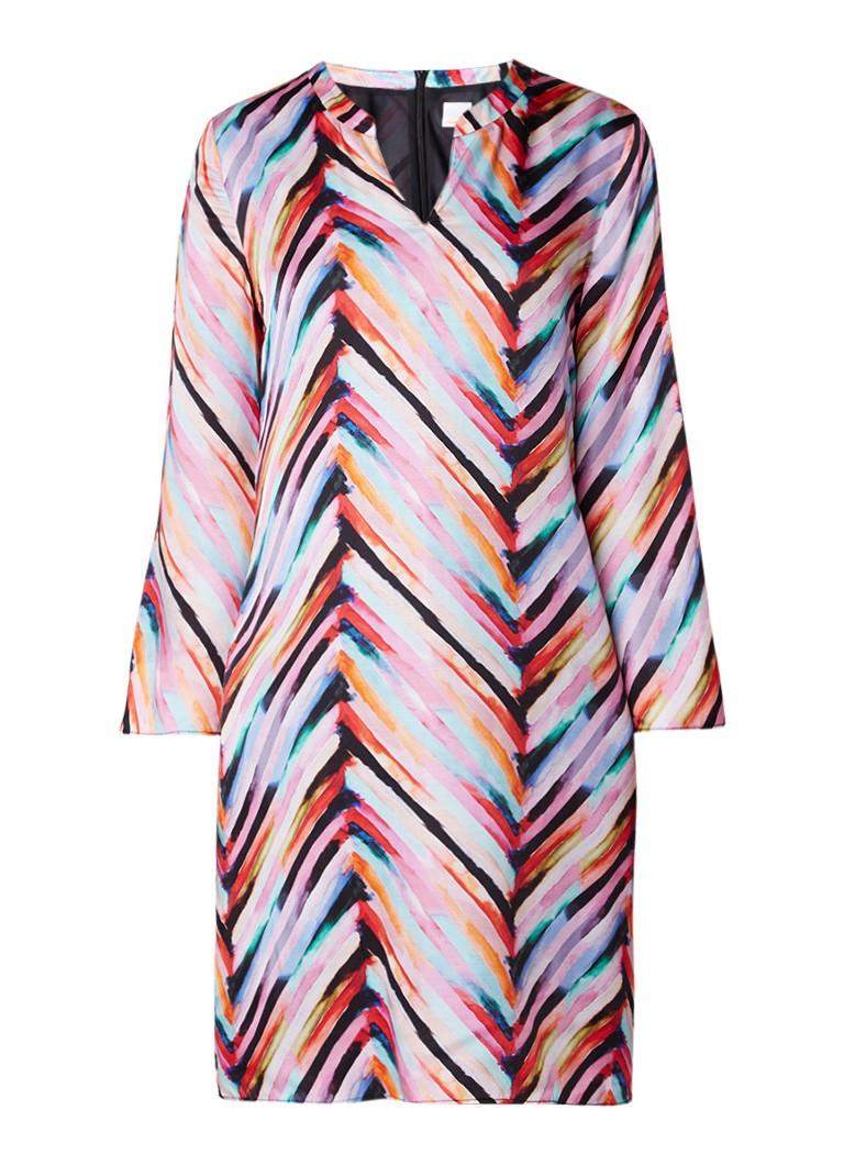 HUGO BOSS Aseta jurk in zijdeblend met grafisch dessin