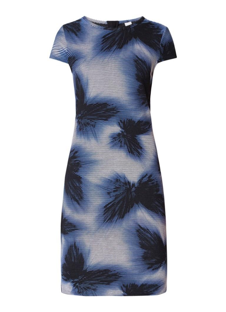 Hugo Boss Dafly jurk met ribstructuur met bloemendessin donkerblauw