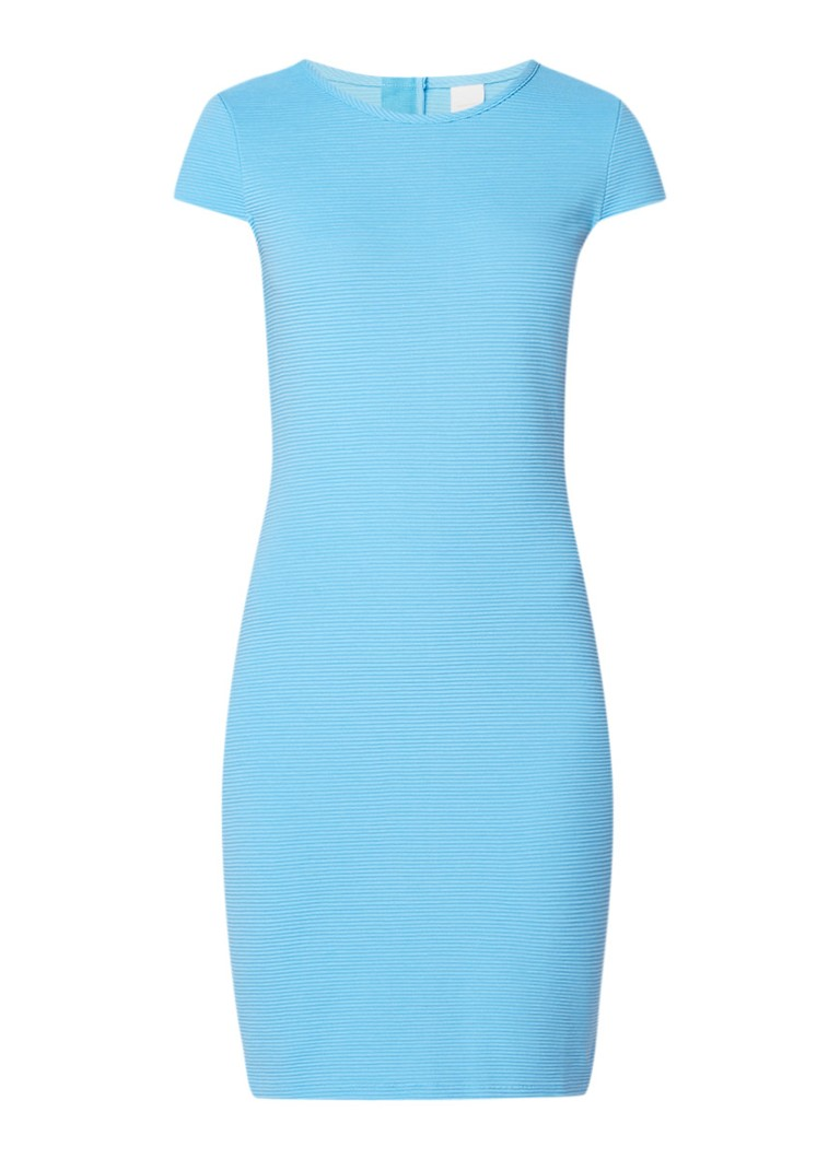 Hugo Boss Dafly midi-jurk met ribstructuur en kapmouw lichtblauw
