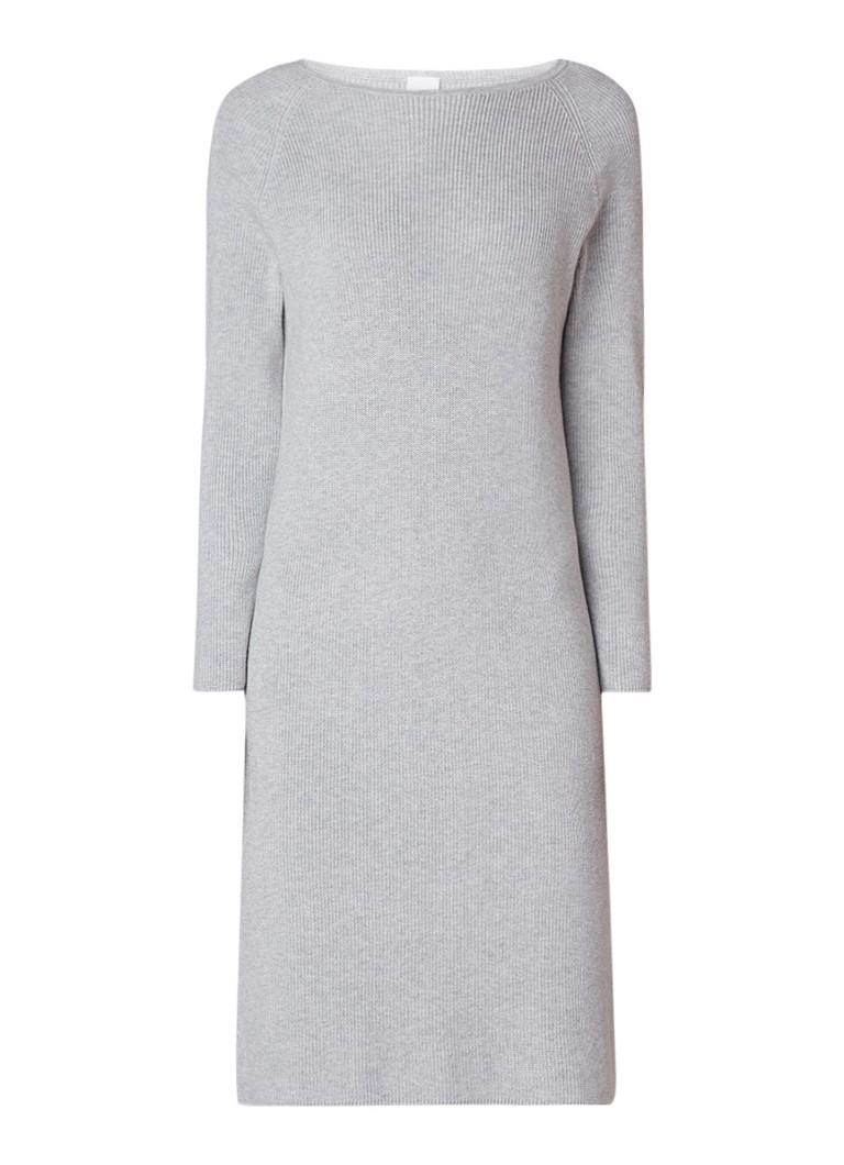 Hugo Boss Iesibessa ribgebreide midi trui-jurk lichtgrijs