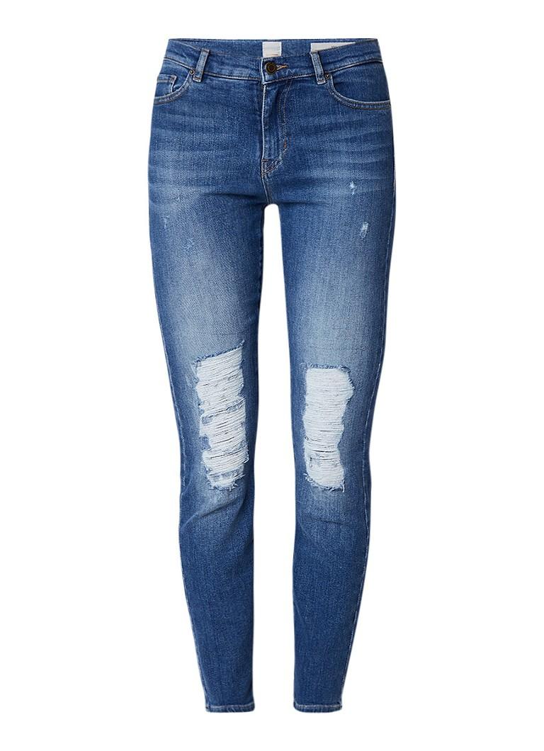 HUGO BOSS J21 Roseville high rise slim fit 7 8 jeans met destroyed details