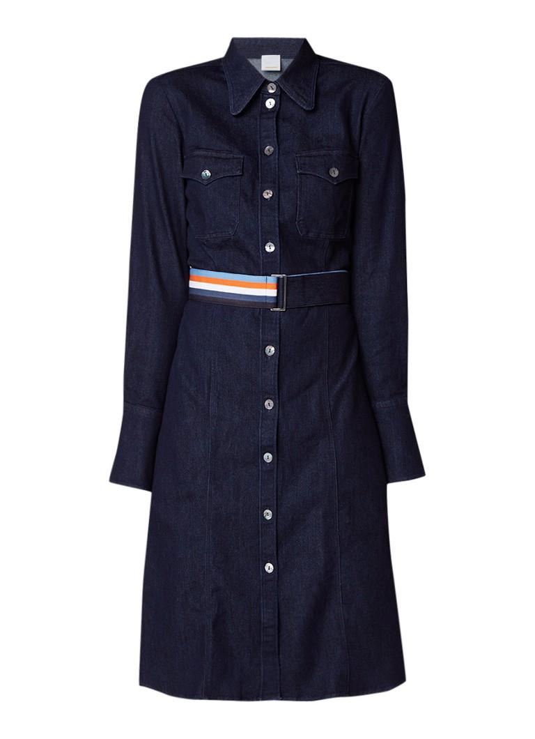Hugo Boss Caddli jurk van denim met ceintuur indigo