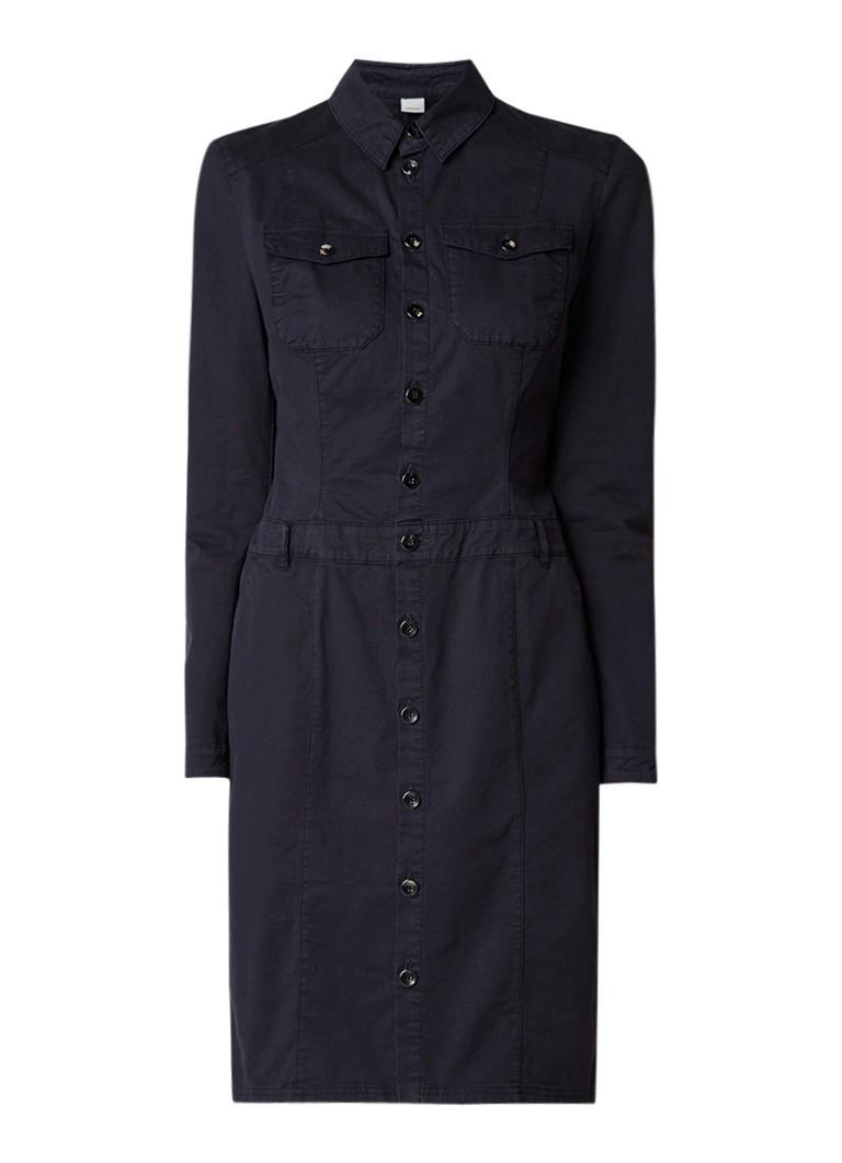 Hugo Boss Atily-D blousejurk met klepzakken donkerblauw