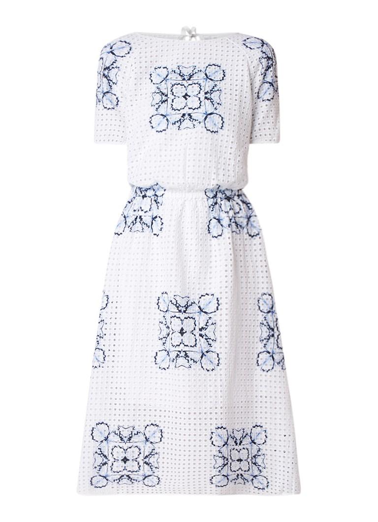 Hugo Boss Emare A-lijn jurk met broderie en keyhole wit