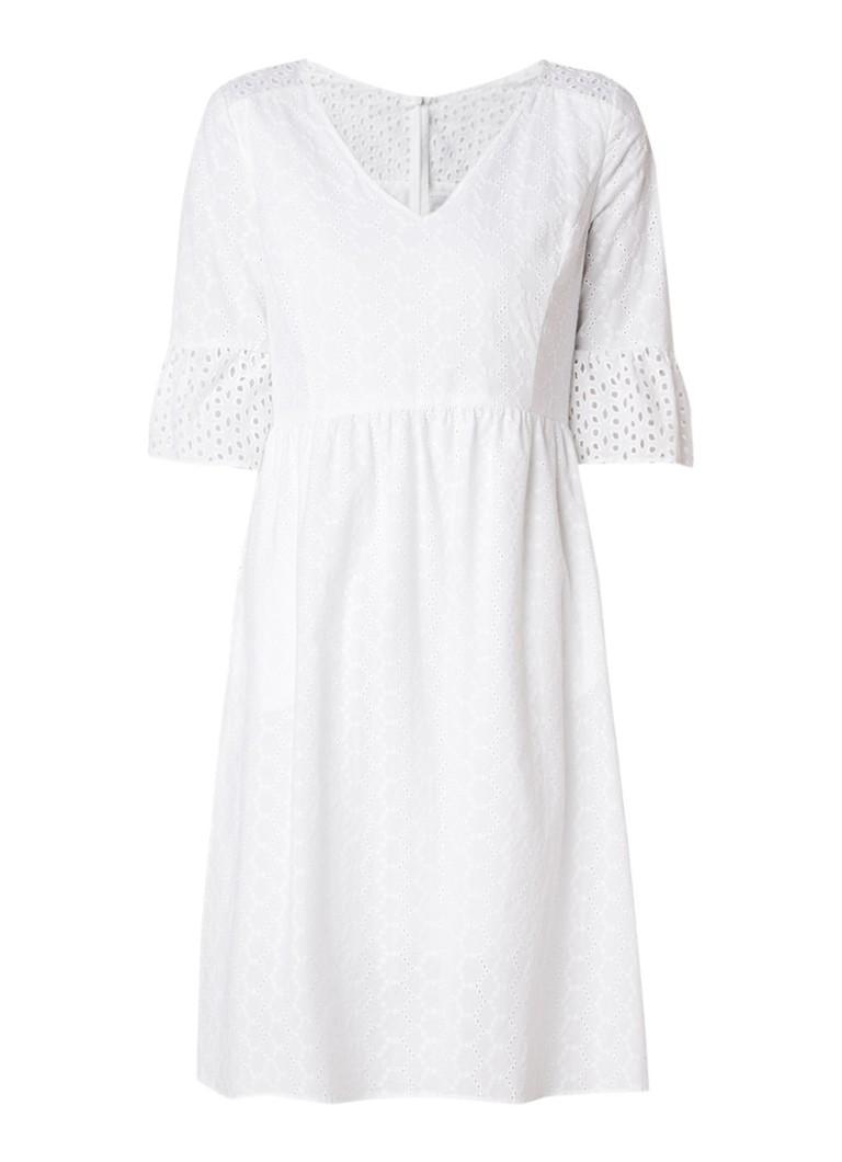 Hugo Boss Abroidita A-lijn jurk van katoen met broderie wit