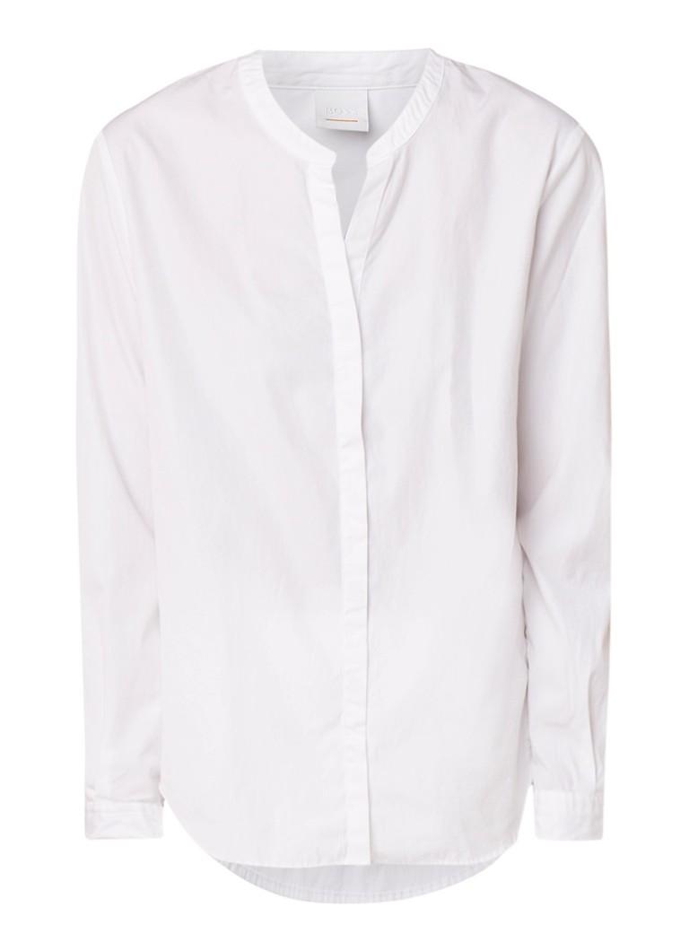 HUGO BOSS Efelize blouse van katoen met openvallende mao-kraag