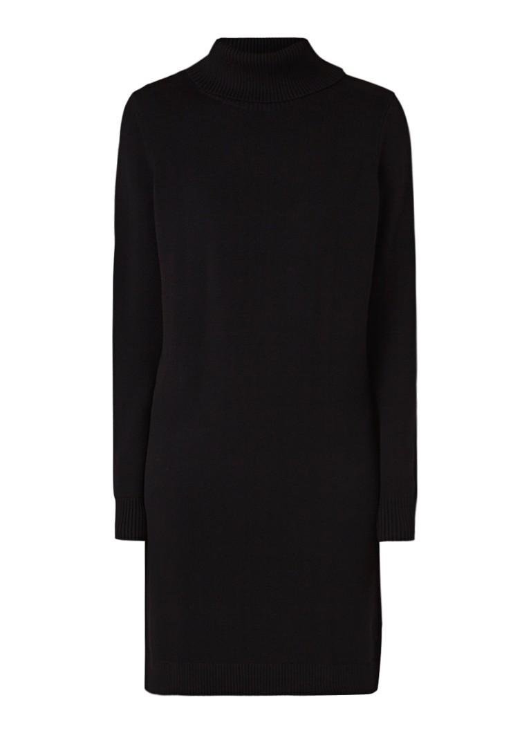 Hugo Boss Wabellena loose fit midi-jurk met col in wolblend zwart