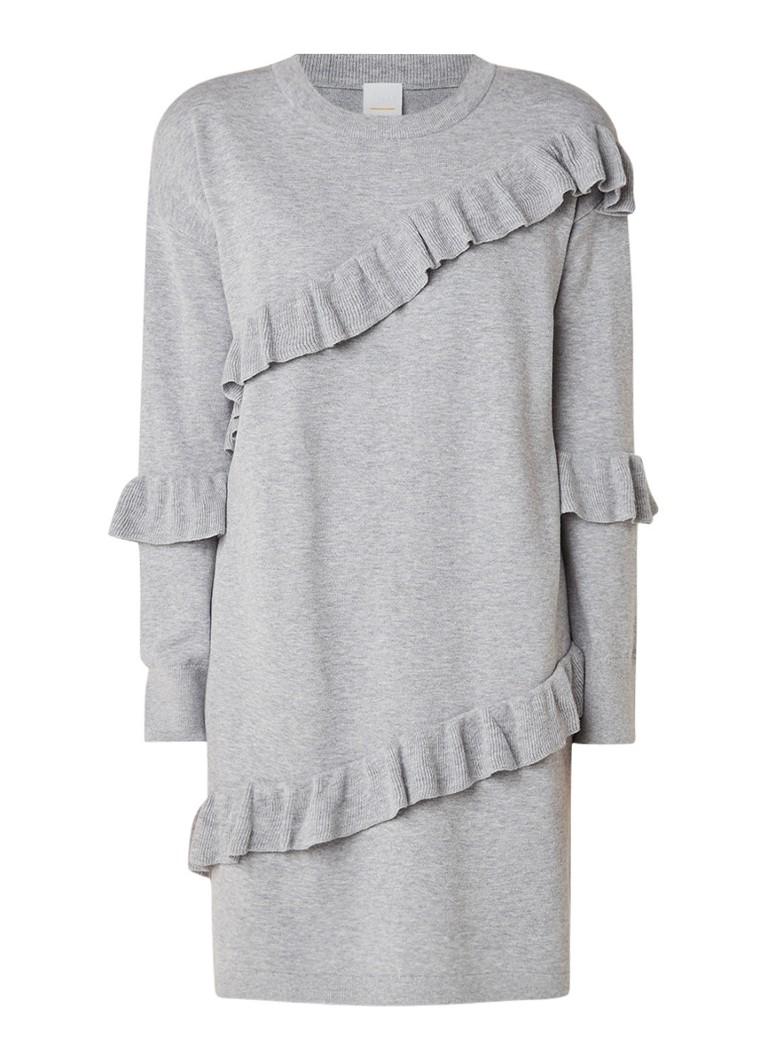 Hugo Boss Willeana fijngebreide jurk in wolblend met volant lichtgrijs