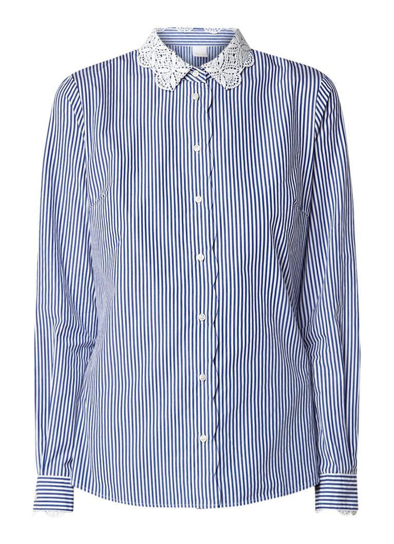 HUGO BOSS Chiope gestreepte blouse met kraag van kant