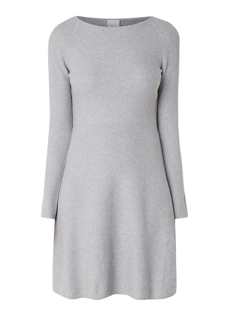 Hugo Boss Lesibedda fijngebreide A-lijn jurk in katoenblend lichtgrijs