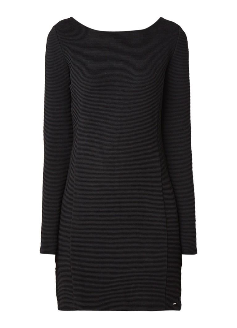Hugo Boss Dafemme bodycon mini-jurk met structuur en strikdetail zwart