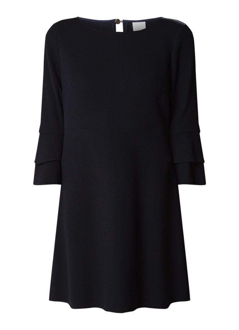 Hugo Boss Atrimmy midi-jurk met epaulet en gelaagde klokmouw donkerblauw