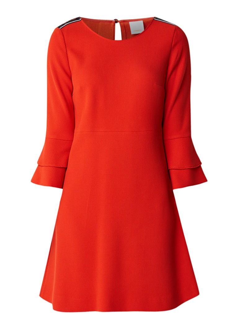 Hugo Boss Atrimmy A-lijn jurk met contrastbies en volantmouw rood