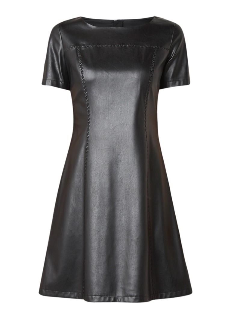 Hugo Boss Asmock A-lijn jurk van imitatieleer zwart