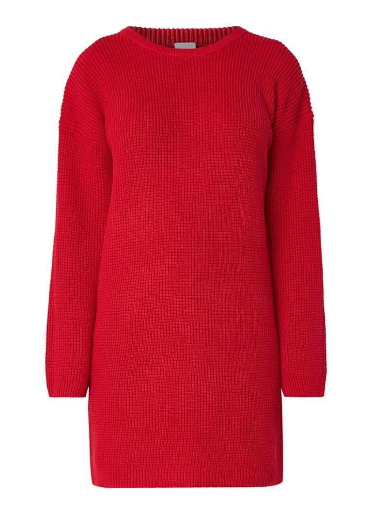 Hugo Boss Itarisa grofgebreide sweaterjurk met ronde hals rood