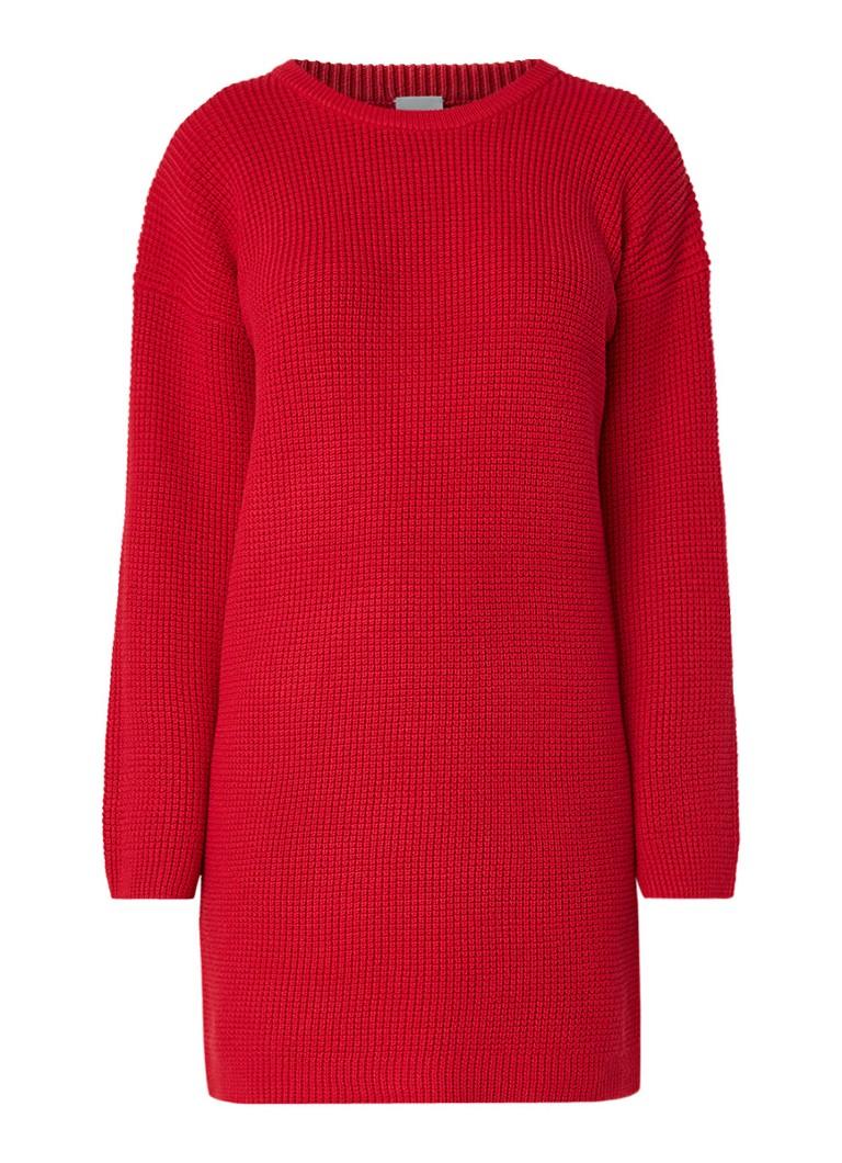 Hugo Boss Itarisa grofgebreide trui-jurk met ronde hals rood