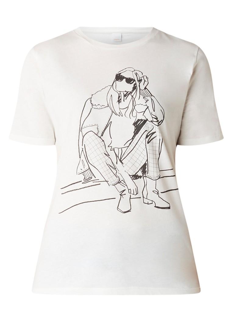 HUGO BOSS Tedrawing T-shirt van katoen met frontprint