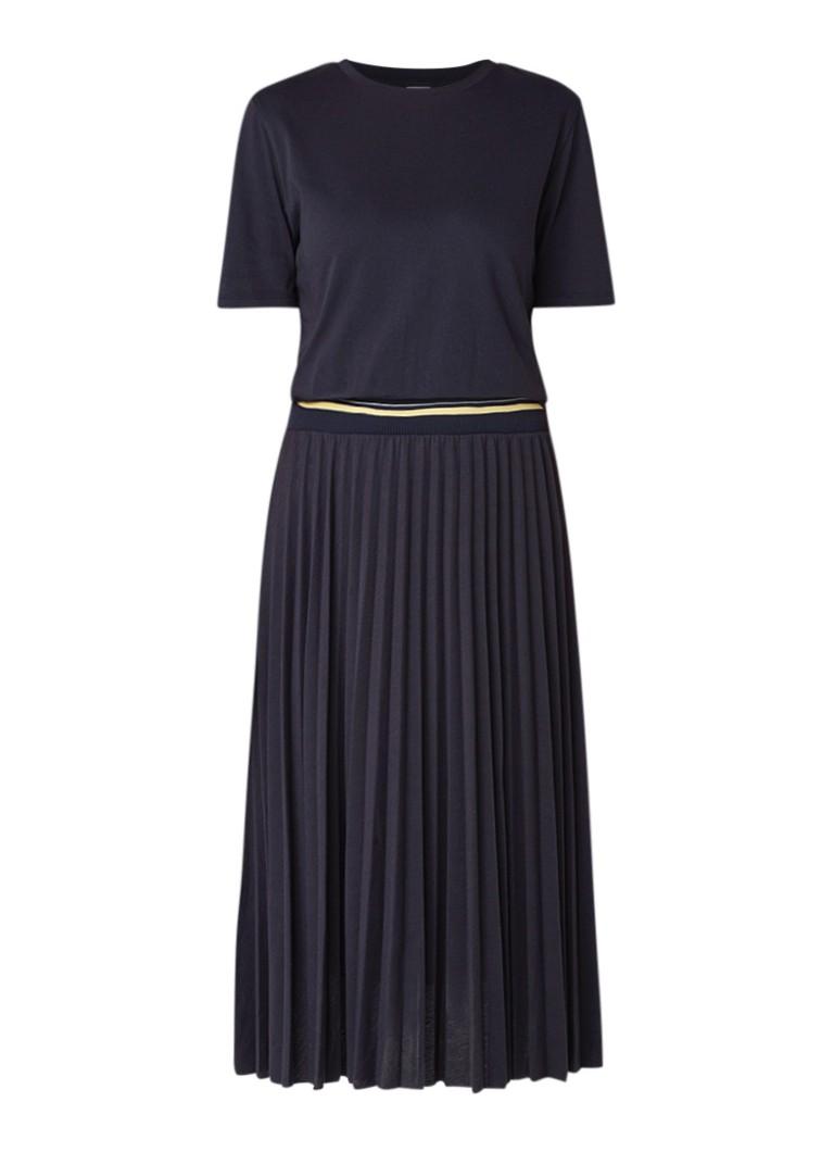 Hugo Boss Daplis maxi-jurk van jersey met plissé donkerblauw