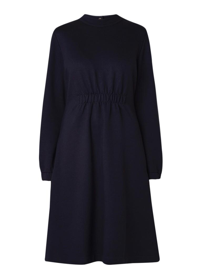 Hugo Boss Dasmocked midi-jurk van jersey donkerblauw