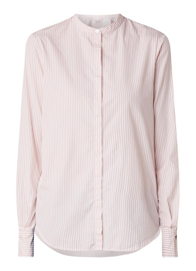 HUGO BOSS Efelize blouse met mao-kraag en streepdessin