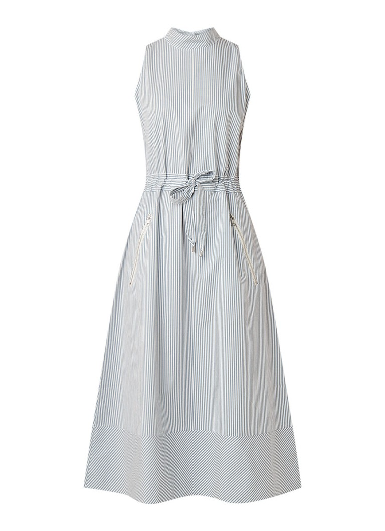 Hugo Boss Cassina maxi-jurk van katoen met streepdessin lichtblauw