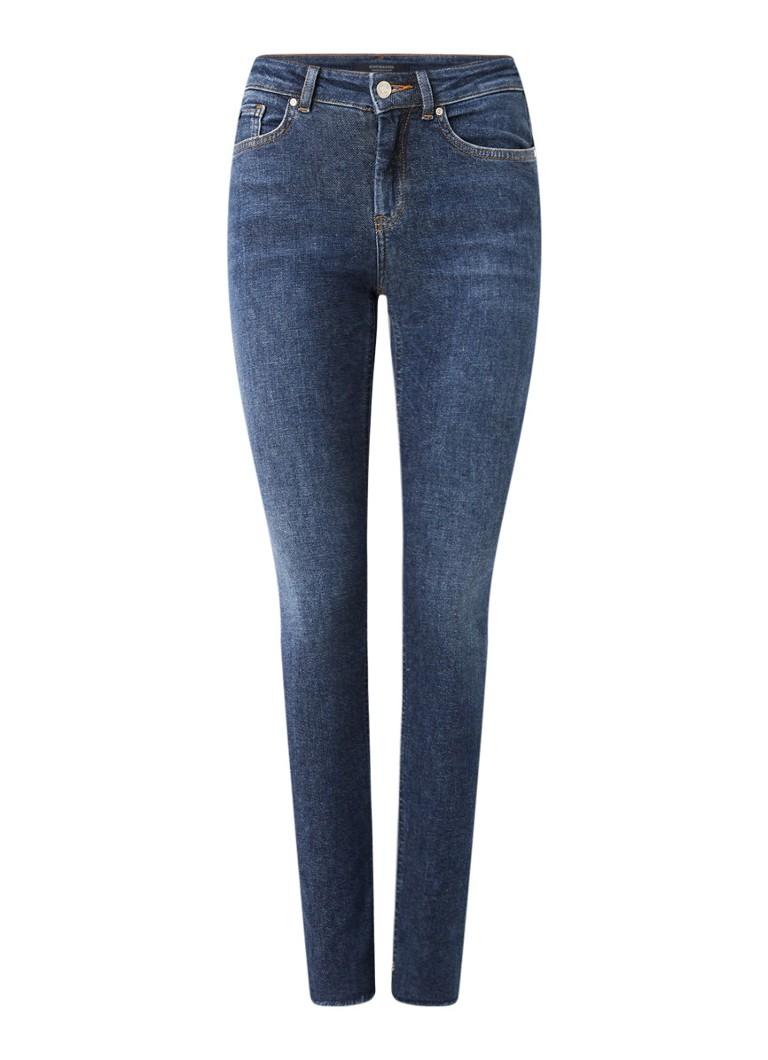 La Bohemienne mid waist skinny fit jeans met gerafelde zoom