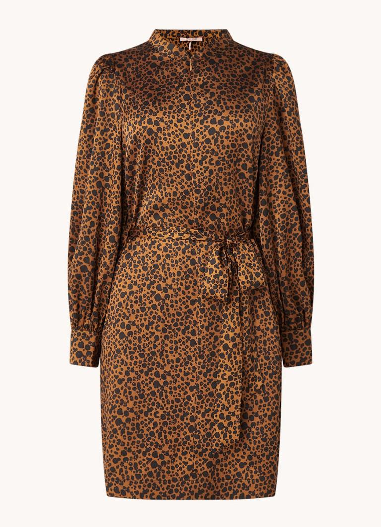 Scotch & Soda jurk met dierenprint en plooien donkerbruin/zwart online kopen